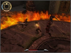 The Twin with the saber usually attacks with series of blows then he has the moment of the standstill - The King's Road - Walkthrough - Prince of Persia: The Two Thrones - Game Guide and Walkthrough
