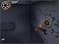 Run horizontally over the right wall and reach relief, sticking the dagger into it - The Hanging Gardens - Walkthrough - Prince of Persia: The Two Thrones - Game Guide and Walkthrough