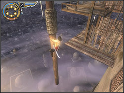 Hanging on the blade of the knife bounce off to the left, run horizontally over the wall reaching the next relief, stick the dagger into it - The Middle Tower - Walkthrough - Prince of Persia: The Two Thrones - Game Guide and Walkthrough