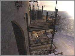 When the stone block is located in the lift, come up to the revolving mechanism and switch the lever - the lift with the rock will go upwards to the second floor - The Middle Tower - Walkthrough - Prince of Persia: The Two Thrones - Game Guide and Walkthrough