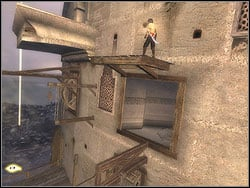 Take off from the relief to the left and run horizontally over the wall, reaching the horizontal bar - The Middle Tower - Walkthrough - Prince of Persia: The Two Thrones - Game Guide and Walkthrough