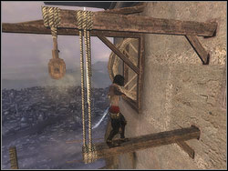 Leave outside, enter the bar and take off to the right, reaching the adjacent rafter trussed up with the string - The Middle Tower - Walkthrough - Prince of Persia: The Two Thrones - Game Guide and Walkthrough