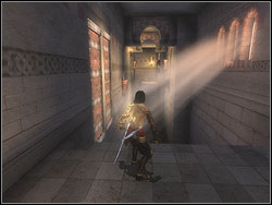 Stand at the brink of the abyss, near the left wall - The Middle Tower - Walkthrough - Prince of Persia: The Two Thrones - Game Guide and Walkthrough