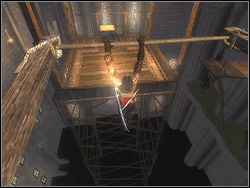 Jump to the cross-bar, stand on it - The Middle Tower - Walkthrough - Prince of Persia: The Two Thrones - Game Guide and Walkthrough