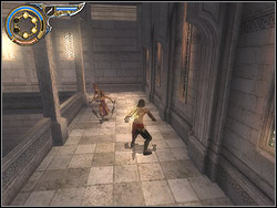 Turn around on the platform to the right, run horizontally over the wall and at the height of the lift take off towards it - The Middle Tower - Walkthrough - Prince of Persia: The Two Thrones - Game Guide and Walkthrough
