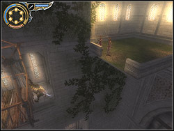 Hang from the right side of the cabin rail, and then jump to the corner terrace with two Enchantresses - The Middle Tower - Walkthrough - Prince of Persia: The Two Thrones - Game Guide and Walkthrough