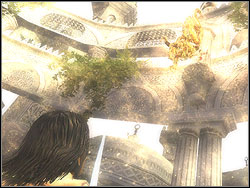 The vizier is flying upwards three times during the first phase of the skirmish in order to strike you with pieces of columns - The Terrace - Walkthrough - Prince of Persia: The Two Thrones - Game Guide and Walkthrough