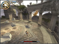 Irritated Vizier will crush walls around the arena of the fight, and will scatter pieces of columns and walls over the terrace - The Terrace - Walkthrough - Prince of Persia: The Two Thrones - Game Guide and Walkthrough