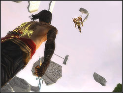 In order to be a success you have to jump to the boss neck three times inflicting him three blows with speed kill each time - The Terrace - Walkthrough - Prince of Persia: The Two Thrones - Game Guide and Walkthrough