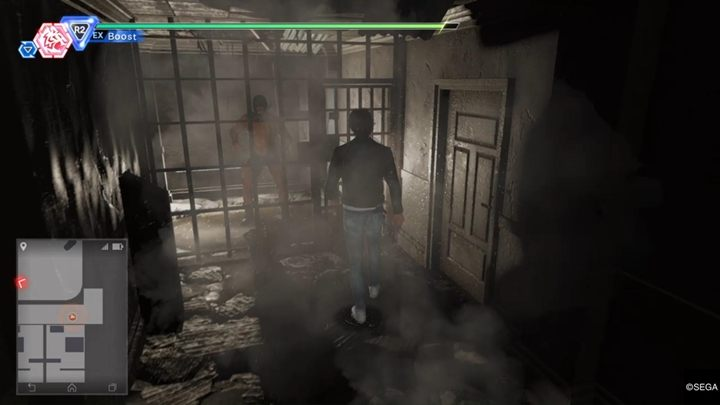 Upstairs youll see a muscular masked man standing next to the bars - Chapter 12 Behind Closed Doors | Judgment Walkthrough - The main storyline - Judgment Guide