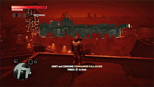 As you probably remember from the last mission, it is best to start the hunt with getting to the rooftop of one of the highest buildings in the area - [Main mission 16] The White Light - Main missions - Prototype 2 - Game Guide and Walkthrough