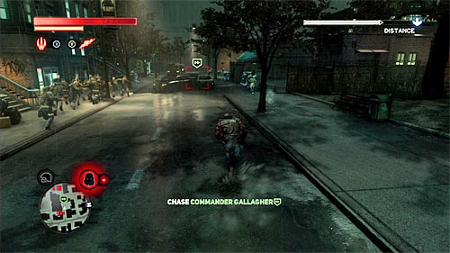 IGNORE Blackwatch soldiers stationing in the area and start chasing Gallagher - [Main mission 16] The White Light - Main missions - Prototype 2 - Game Guide and Walkthrough