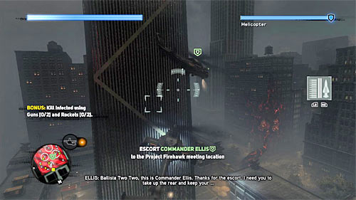 Ascend to the altitude similar to commander Ellis's helicopter (right trigger) and follow him - [Main mission 26] Fly in the Ointment - Main missions - Prototype 2 - Game Guide and Walkthrough