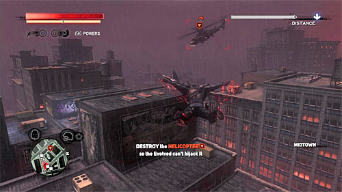 There are three helicopters in total to be destroyed and first of them appears in location [406, 350] - [Blacknet mission 10] Operation: Long Horizon - Blacknet missions - Prototype 2 - Game Guide and Walkthrough