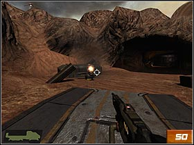 Convoy will stop - there're some landmines on the track - Canyon - Walkthrough - Quake 4 - Game Guide and Walkthrough
