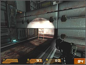 Taking the only available patch, youll reach the elevator - Strogg Medicial Facilities - Walkthrough - Quake 4 - Game Guide and Walkthrough
