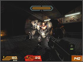 Recover health, armor and smoothly go through the laser field - Waste Processing Facility - Walkthrough - Quake 4 - Game Guide and Walkthrough