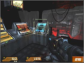 After short ride, youll reach the hall with TV screen (you can see Makron on it) - Nexus Core - Walkthrough - Quake 4 - Game Guide and Walkthrough