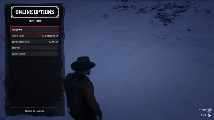 If you get stuck, open the online options (left on the d-pad) and select the suicide option - Starting Tips for Red Dead Online - Basics - Red Dead Online Guide