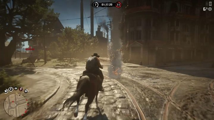 The goal of this type of race in Red Dead Online is to ride through certain numbers of bonfires scattered around a big area - Red Dead Online Guide