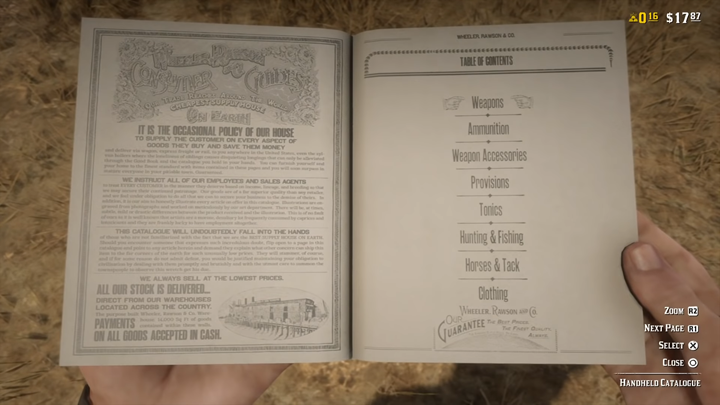After completing the prologue, you will get a handheld catalogue, which will make it extremely easy for you to shop in Red Dead Online - Ammunition, gunsmith and the hand catalog in Red Dead Online - Combat and Equipment - Red Dead Online Guide
