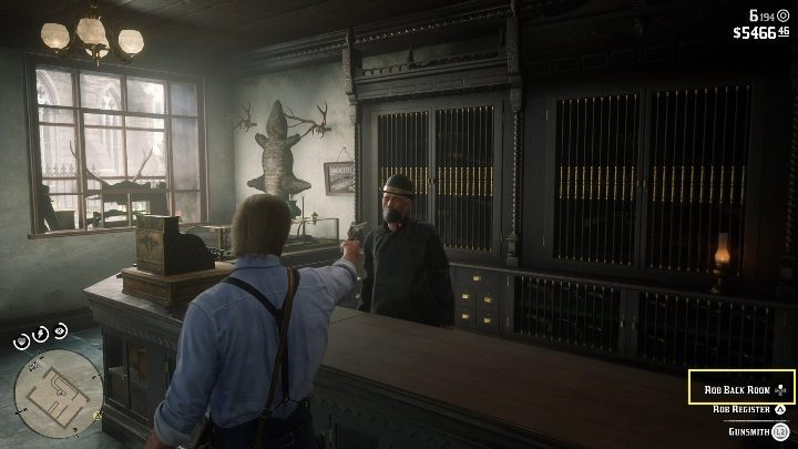 Approach the gunsmith and threaten him with your weapon - Store robbery in Red Dead Redemption 2 - Side quests - Red Dead Redemption 2 Guide