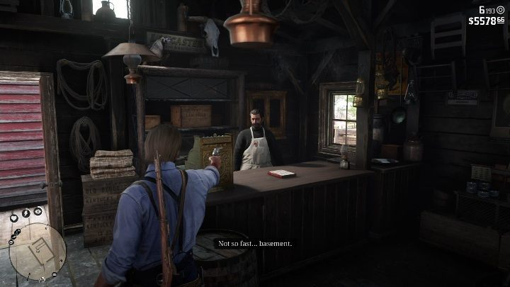 To go inside the basement, you have to threaten the store owner - Store robbery in Red Dead Redemption 2 - Side quests - Red Dead Redemption 2 Guide