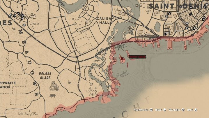 Broken Pirate Sword is on the island south of Saint Denis - Unique items Red Dead Redemption 2 - Secrets and collectibles - Red Dead Redemption 2 Guide