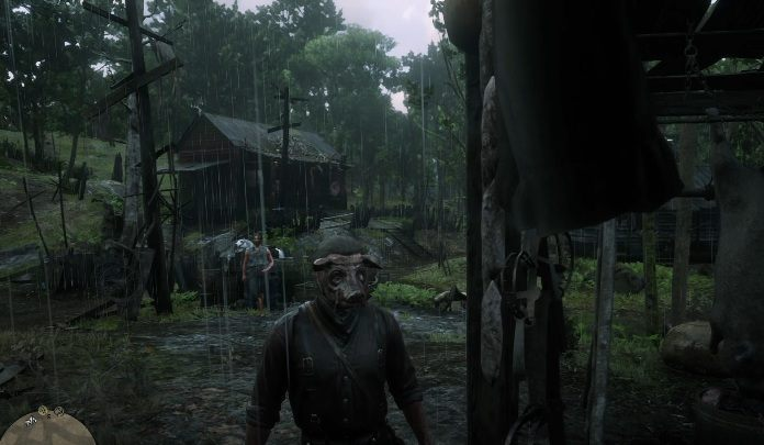 The Pig Mask hangs on the wooden pole near the cabins - Unique items Red Dead Redemption 2 - Secrets and collectibles - Red Dead Redemption 2 Guide