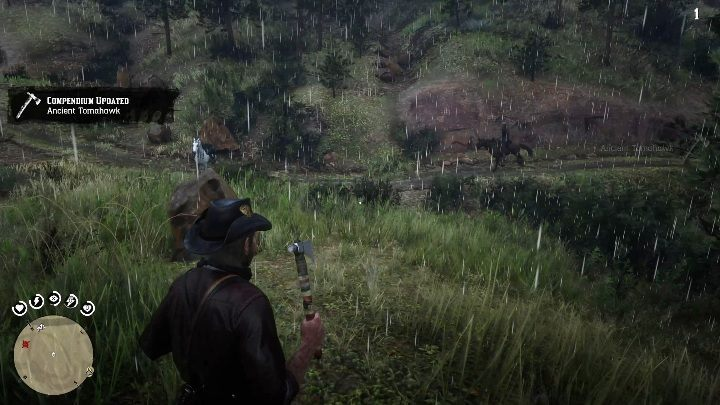 The hatchet is stuck in a tree stump in front of the cabin - Unique items Red Dead Redemption 2 - Secrets and collectibles - Red Dead Redemption 2 Guide