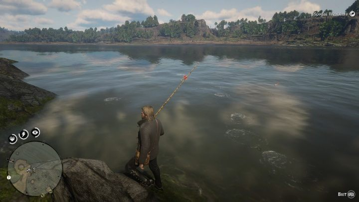 The best place to cast the rod will be the rock near the lighthouse - Legendary Muskie fish in RDR2 - Legendary fish - Red Dead Redemption 2 Guide