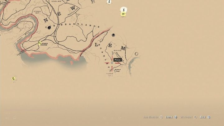 The second map can be found in the southern part of the map, west of the city Saint Denis - How to get a gold bar and where to sell it in Red Dead Redemption 2? - FAQ - Red Dead Redemption 2 Guide