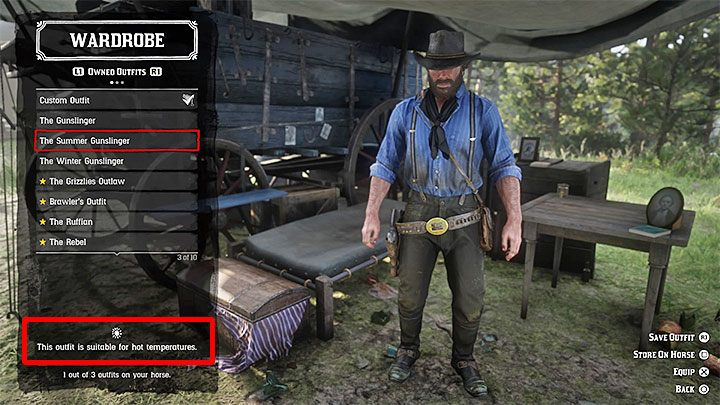 The most important outfits in the game are those intended for use at high and low temperatures - How and why you should change your heros clothes in RDR2? - FAQ - Red Dead Redemption 2 Guide