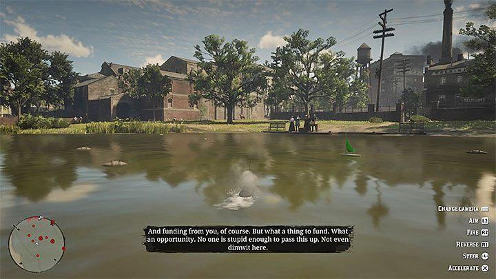 The second submarine challenge is a little bit more difficult - you need to sink the marked ships before they reach the opposite part of the pond - A Bright Bouncing Boy | Side Quests in RDR2 - Side quests - Red Dead Redemption 2 Guide