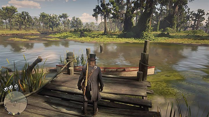 After buying the upgrade, go along the shore near the gang camp, and you will find a boat (an example is shown in the picture) - Where do I find the boat in RDR2? - FAQ - Red Dead Redemption 2 Guide