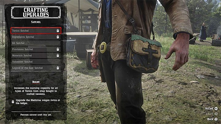 In order to make new bags you need Leather Working Tools - the way to get them is described on the page How to get the Leather Working Tools for crafting - How to increase the capacity of your satchel in RDR2? - FAQ - Red Dead Redemption 2 Guide