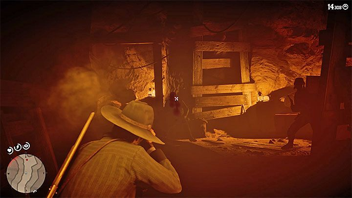 After clearing the area, enter the mine - Esteban Cortez - Bounty Hunting Missions in RDR2 - Tumbleweed - Red Dead Redemption 2 Guide