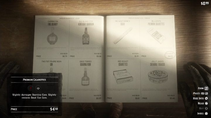 To get a pack of cigarettes you need to open the catalogue, enter Provisions, then the Tobacco section and select Premium Cigarettes - How to quickly get the collectors cards in Red Dead Redemption 2? - Collector cards - Red Dead Redemption 2 Guide