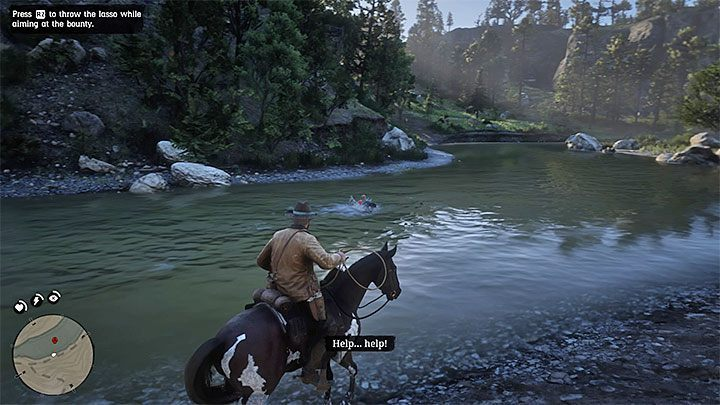 Even after successful rescue, Allbright will still jump into water - Good, Honest, Snake Oil - Bounty Hunting Missions in RDR2 - Valentine - Red Dead Redemption 2 Guide