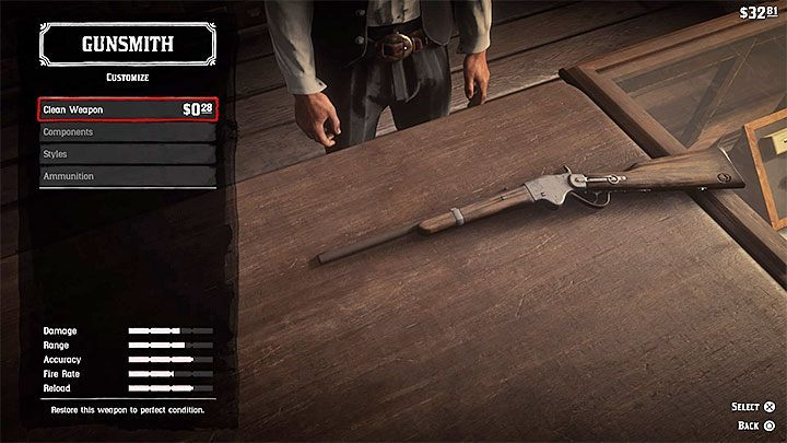 If you dont have Gun Oil, you can also visit any of the Gunsmiths and pay for cleaning your weapon - How to repair weapons in Red Dead Redemption 2? - FAQ - Red Dead Redemption 2 Guide