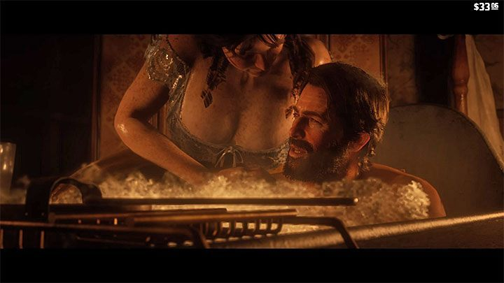 During a bath you can ask a woman working at a hotel to clean Morgan - How to take a bath in RDR2? - FAQ - Red Dead Redemption 2 Guide