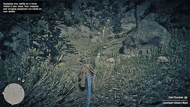 Track the bear in the same way as you did in the aforementioned mission - activate the Eagle Eye, examine the yellow tracks and follow them - How to kill the legendary bear in RDR2? - FAQ - Red Dead Redemption 2 Guide