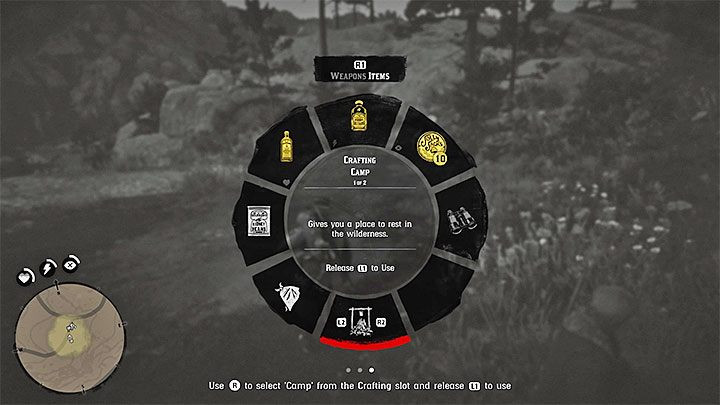 Open the wheel menu, go to the Items tab and select Crafting Camp - Exit Pursued By a Bruised Ego - Red Dead Redemption 2 Walkthrough - Chapter 2 - Horseshoe Overlook - Red Dead Redemption 2 Guide