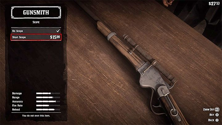 Select Scope from the list of components - How to get a scope for your rifle in RDR2? - FAQ - Red Dead Redemption 2 Guide