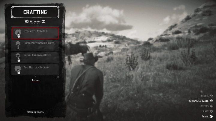 Летучий динамит - Рецепты и крафтинг рецептов в Red Dead Redemption 2 - Основы игры - Red Dead Redemption 2 Guide