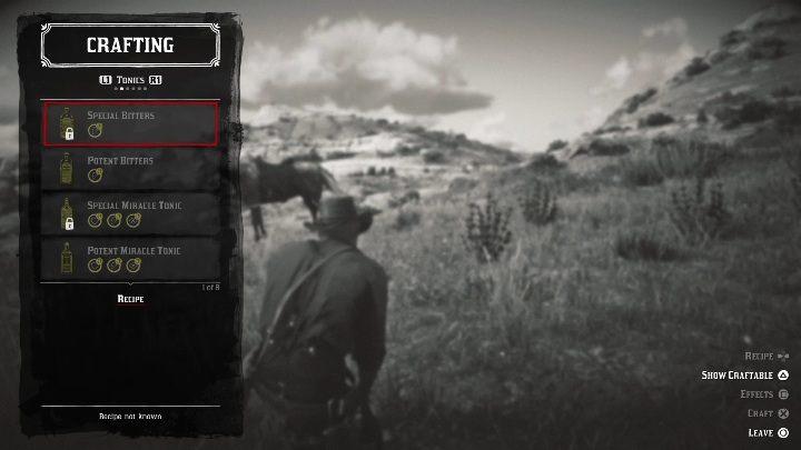 Special Bitters - Рецепты и крафтинг рецептов в Red Dead Redemption 2 - Основы игры - Red Dead Redemption 2 Guide