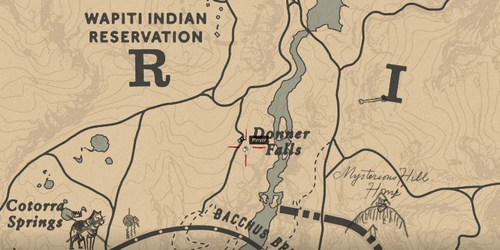 The grave can be found on a mountain, east of Donner Falls - Graves in Red Dead Redemption 2 - Secrets and collectibles - Red Dead Redemption 2 Guide