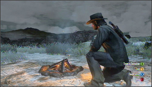 If you are in the desert then you have to make a fire camp - Basics - How to save the game? - Basics - Red Dead Redemption - Game Guide and Walkthrough