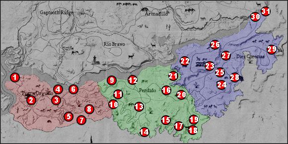 1 - Maps - Locations - Maps - Red Dead Redemption - Game Guide and Walkthrough
