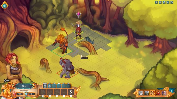 Fortunately, the previously cast barrier will burn up one of the wolves, and the second one will die from physical damage - Example battles | Dungeons and combat - Dungeons and combat - Regalia: Of Man and Monarchs Game Guide